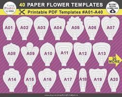 Paper Flower Petal Template Printable Pdf Paper Flower Templates Set Of 20 Printable Etsy