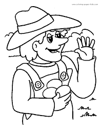 Farm Color Page Coloring Pages For Kids Family People And Jobs
