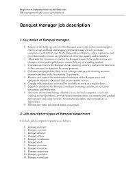 Download Banquet Job Description Haadyaooverbayresort Com