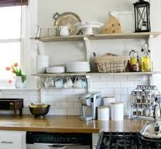french provincial kitchen tiles. white brick wall tiles and rustic open shelving ideas for french provincial kitchen decor with iron lantern
