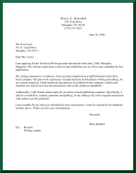 Work Experience Cover Letter Cover Letter For Technical Writers Cover Letter Example For