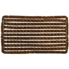 Decorating coir door mats pics : Entryways Rectangle Stripes 16 in. x 27 in. Wire Brush Coir Door ...