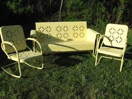 yellow outdoor furniture. Three Piece Powdercoated Vintage Porch Glider Set In Piecrust Pattern.Powdercoated Pale Yellow.Set Price #659852 SOLD Yellow Outdoor Furniture U