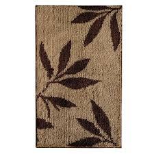 interdesign leaves 34 in x 21 in bath rug in brown tan