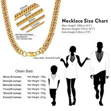 Gold Chain Width Size Chart Chainshouse Men Chunky Necklace 18k Gold Plated Hip Hop