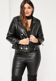 leather jackets plus size plus size black military faux leather biker jacket missguided