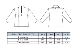 Top Measurement Chart Girls Long Sleeve Top Size Chart Quality Junior Golf