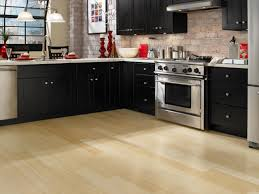 Vinyl Flooring For Kitchens Modern Luxury Dark Vinyl Flooring In Kitchen With White Leather