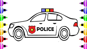 How To Draw Police Car Coloring Pages For Kids And Drawing Images
