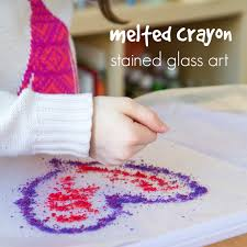 how to make melted crayon stained glass art with kids