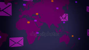 Emails Background World Moving From Right To Left Vector Animation Black Background Left View Purple