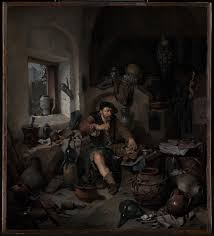 the art of alchemy research institute the research  oil painting of an alchemist sitting in a dark and dingy workshop making synthetic cinnabar the alchemist