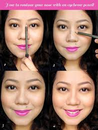 step 1 map out your ideal contouring areas your goal is to make your nose look slimmer and higher to do so shade along the sides of your nose