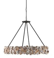 oyster shell and iron ring chandelier