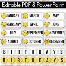Editable Birthday Display Editable Birthday Chart Emoji Classroom Decor