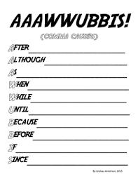 Aaawwubbis Subordinate Conjunctions Anchor Chart Handouts Activities
