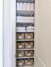 simple small vertical closet organizer for linens