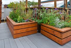 elevated garden bed. Even Though This Garden Uses Wood, The Design Of Beds Provide A Modern Feel Elevated Bed D