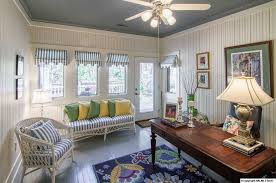 home office french doors. Cottage Home Office With Interior Wallpaper, French Doors, Ceiling Fan, Hardwood Floors, Doors