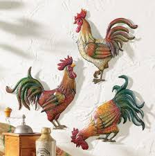 Kitchen Wall Hanging Amazoncom Knlstore Set Of 3 Country French Tuscan Farm Rooster