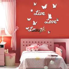 Love Bedroom Decor Live Laugh Love Quote Vinyl Wall Stickers Butterflies Mirror Home