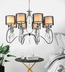 black and silver metal and crystal chandelier by stello