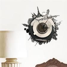 diy 3d wall stickers clock world earth wall decal clock 3d art wall clock home decor