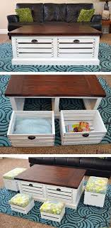 DIY Wood Crate Coffee Table and Stools with Storage