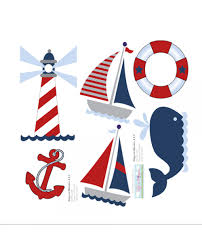 sail boat light house whale nautical ocean wall stickers on red and light blue wall art with nautical wall mural removable vinyl stickers ocean themed wall