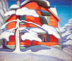 pine tree and red house winter city 1924 lawren harris