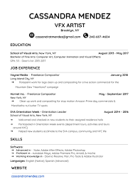 Famous Visual Effects Artist Resume Ideas Documentation Template