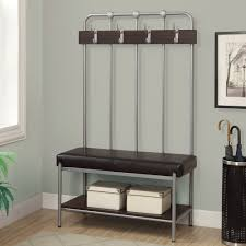 Modern Hall Tree Coat Rack Silver Metal Entryway Hall Tree Coat Stand Furniture Storage Bench 84