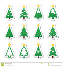 Christmas Tree Labels Christmas Tree Icons Set Stock Illustration Illustration Of