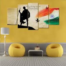 india flag 5 piece canvas wall art