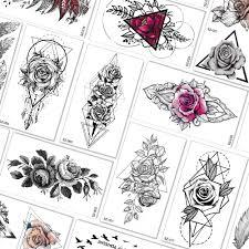 геометрические треугольные розы временные татуировки для женщин рука