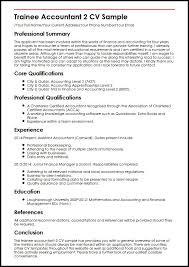 Trainee Accountant 2 Cv Sample Myperfectcv Soulhour Online