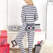 plus size footed pajamas womens owl animal seat footed pajamas from cornerstone