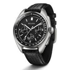 bulova men s lunar pilot chronograph leather strap watch