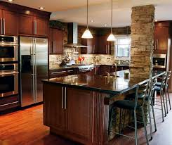 Kitchens With Cherry Cabinets Cool Dark Cherry Cabinets In Casual Kitchen Kitchen Craft
