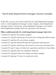 Top 8 retail department manager resume samples In this file, you can ref  resume materials ...