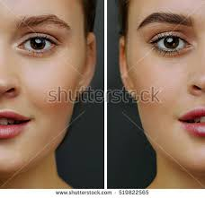 eyebrow trimmer before after. female face, with perfect skin, cut in half to present before and after coloring eyebrow trimmer r