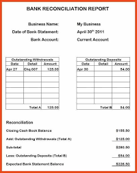 bank reconciliation form bank reconciliation example sop format example
