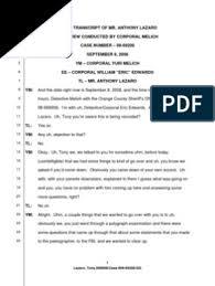Casey Anthony - Anthony Lazzaro 9-8-08 Transcript