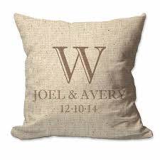 Avery 8942 Fullerton Couples Initial With First Names And Date Throw Pillow Cover