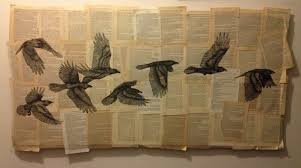 bird pencil drawing on book pages