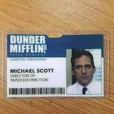 Badge Office The Office Id Badge Dunder Mifflin Director Michael Scott