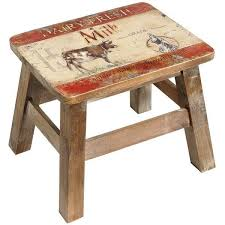 NEW Vintage Style Country Farmhouse Style Wooden Dairy Cow Milking Foot  Stool