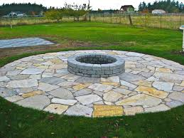 Modern Flagstone Patio With Fire Pit Rusticlandscape In Creativity Ideas