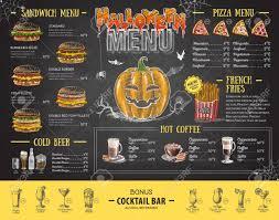 Halloween Menu Design Vintage Chalk Drawing Halloween Menu Design Restaurant Menu