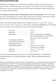 the keyboard shortcuts built in to mathtype are listed in the help file
